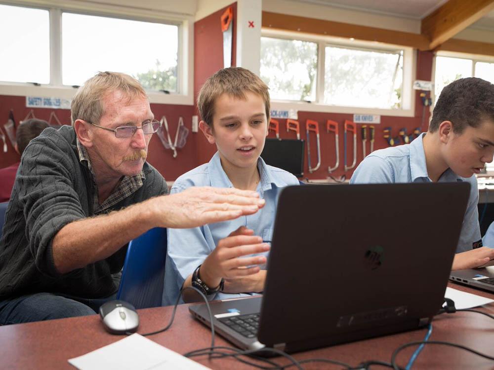 Students learning at Marina View
